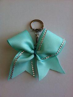 Light Teal Rhinestone Cheer Bow Keychain by xxBowsoverBrosxx, $4.50