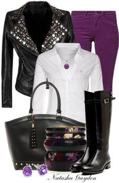 """Antik Batik"" by Natasha Gayden on Polyvore.  Great combo of purple and black.  I want that studded jacket!"