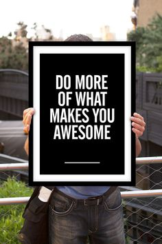 "Inspirational Quote Motivational Print ""Do More of What Makes You Awesome"" Black & White Subway Art Style Typography Poster Wall Decor"