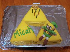 Zelda Triforce Birthday Cake w/ fondant Link--really, I DID make this cake!  :)