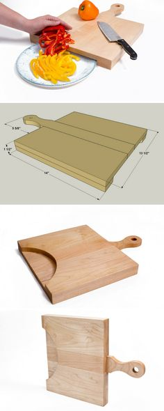 This solid-maple cutting board offers ample space for cutting and a comfortable handle, but the most-unique feature lies underneath. A cutout in the lower layer allows you to slip a plate under the edge, so that you can slide the things you've cut easily off the board without spilling.