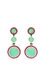 Abellan New York - One Of A Kind Chrysoprase, Burma Ruby And Diamond Earrings .