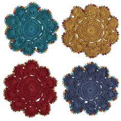 235e392e6d2f Multi-colored Boho Coaster Set - Cotton