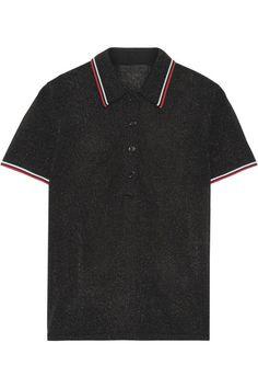 Alexander Wang | Metallic stretch-knit polo shirt | NET-A-PORTER.COM