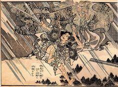 歌川国芳:綱、鬼女の腕を切て北野の社頭におつ「和漢英勇画伝」Samurai cut off the arm of the ogress.