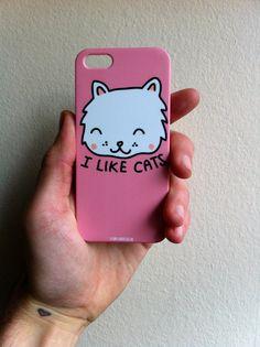 I Like Cats iPhone case  Happy cat  I like cats  by ilikeCATSshop, £15.00