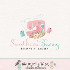 sewing logo design sewing machine logo fabric by ThePaperGirlCo