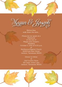 Fall Rehearsal Dinner Invitation by One August Day Fall Rehearsal Dinners, Rehearsal Dinner Invitations, Wedding Rehearsal, Wedding Invitations, Grooms Table, Old Country Stores, October Wedding, Walking Down The Aisle, Wedding Invitation Cards