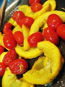 The Craft Patch: Summer Squash And Cherry Tomatoes In Basil Butter Squash Eggplant Recipe, Yellow Crookneck Squash, Summer Squash Salad, Cherry Tomato Recipes, Cherry Tomatoes, Food And Drink, Yummy Food, Favorite Recipes, Basil