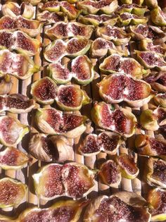 figs split being dried out in the warm Puglia sun.