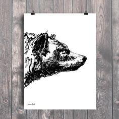 Plakat z autorską grafiką: Niedźwiedź