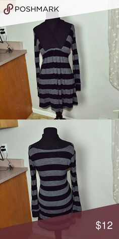 ON HOLD Beautiful Back & Grey Striped Dress In excellent condition. Super soft! Dresses Mini