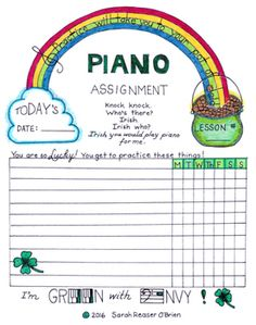Piano Assignment Sheet Designed With Awesomeness In Mind  Music