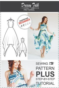 PRODUCT DESCRIPTION:  PDF sewing pattern of an elegant dress with an asymmetrical handkerchief cut hem. Invisible zipper in the central back
