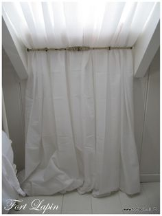 brilliant idea for window treatments on slanted dormers