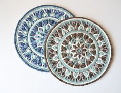 Crochet Mandala Potholder Pattern Mint Coffee Mandala  ***** This listing is for the CROCHET PATTERN ONLY! Finished mandala is NOT included! *******  If you search for finished product please check it here: https://www.etsy.com/listing/203018044/pillow-with-mandala-pillowcase-with?ref=shop_home_active_9  https://www.etsy.com/listing/203702077/white-pillow-with-mandala-pillowcase?ref=shop_home_active_3  This easy to follow pattern (14 pages) is written for two sizes (pot holder and mandala)…