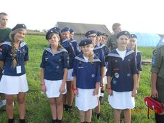 Female Sea Scouts in Poland. This is their formal uniform. The usually wear jeans and no hat for regular meetings. #Thinking Day