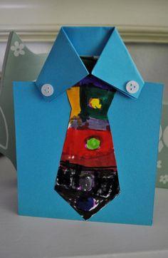 basteln karte krawatte zeichnen blau hemd papier
