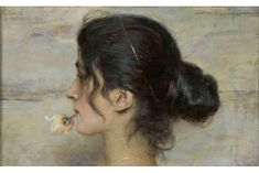 Ettore Tito (1859 - 1941) - With a Rose in Her Lips