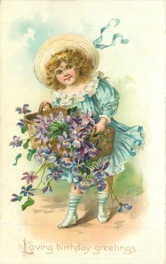 A HAPPY BIRTHDAY TO YOU  girl holds & spills basket of pansies