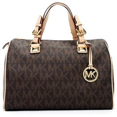 Women's MICHAEL Michael Kors Grayson Large Logo Satchel Bag, Brown ($328) ❤ liked on Polyvore