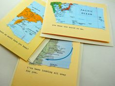 map themed greeting card set, I love you, I miss you, I've been waiting for you, typewritten message with up cycled materials