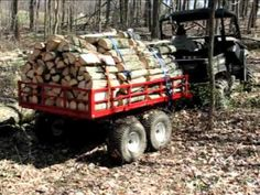 UTV Trailers for off-road utility vehicles, tandem axle trailers made in the USA by Country ATV. Utv Trailers, Flatbed Trailer, Atv Dump Trailer, Tractor Snow Plow, Stacking Firewood, Wood Stoves, Snowmobiles, Utility Trailer, Four Corners