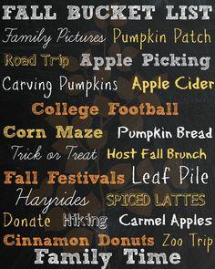 Free Fall Bucket List Printable!