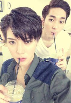 NU'EST Aron and Ren Drinking Coffee