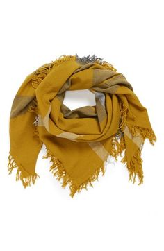 $295, Mustard Scarf: Burberry Check Merino Wool Scarf. Sold by Nordstrom. Click for more info: https://lookastic.com/women/shop_items/85990/redirect