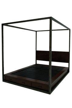 Rustic Loft  Copenhagen Four Post Queen Storage Bed - Pecan  $1,299.00