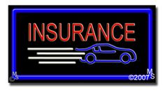 "Insurance Neon Sign - 20"" x 37""-ANS1500-5638-R  37"" Wide x 20"" Tall x 3"" Deep  Flashing Border ""ON/OFF"" switch  Sign is mounted on an unbreakable black or clear Lexan backing  Top and bottom protective sides  110 volt U.L. listed transformer fits into a standard outlet  Hanging hardware & chain included  6' Power cord with standard transformer  For indoor use only  1 Year Warranty on electrical components."