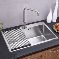 Modern Kitchen Sink Single Bowl Hand-made Brushed # 304 Stainless Steel Sink Topmount Sink (Faucet Not Included) Kitchen Jars, Diy Kitchen, Kitchen Design, Kitchen Decor, Undermount Stainless Steel Sink, Modern Kitchen Sinks, New Countertops, Minimalist Kitchen, Sink Faucets