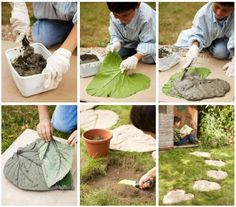 DIY: cement leaf stepping stones