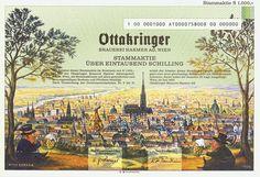 HWPH AG - Historische Wertpapiere - Ottakringer Brauerei Harmer AG / Wien, Juli 1995, Specimen einer Stammaktie über 1.000 Schilling, nullgeziffert
