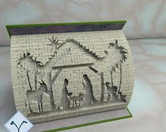 Book Folding Templates, Book Folding Patterns, Paper Folding, Cut And Fold Books, Folded Book Art, Holy Family, Free Pattern, Texture, Etsy