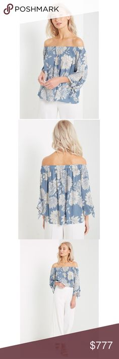 "🆕Arrival! Blue Floral Off the Shoulder Top Blue Floral Off the Shoulder Top with Tie Detail. Fabric 100% Rayon. Sizes S-M-L. Model is wearing a size S. Model's profile: Height: 5'8"", Bust: 33"", Waist: 24"", Hips: 34"". Tops"