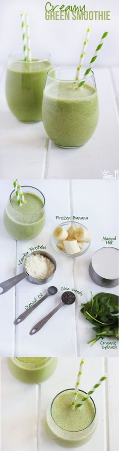 Creamy Green Protein Smoothie! Healthy, gluten-free, dairy-free, and paleo-friendly! by kristie