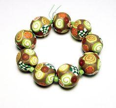 Handmade Beads Polymer Clay Set of Nine Round by SweetchildJewelry, $22.50