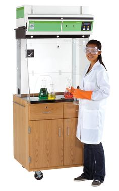 """A versatile fume hood that can be used in multiple classrooms. This ductless fume hood has an all-inclusive filter that handles liquids, gasses and solid chemicals. This unit is so flexible, it does not require ducting (saves energy) and plugs into an ordinary outlet. The fume hood part of the unit is enclosed by 5/16"""" thick acrylic so a teacher can demonstrate while students surround the hood. The metallic parts are anti-corrosion metallic alloy. (DW_1800K)"""