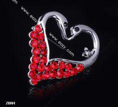 4x3cm Ruby Charm Elegant Love Heart Swan Unique Crystal Pin Brooch Rhinestone