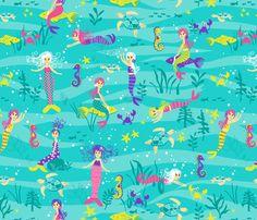 Mermaid Ocean Play fabric by ktalent on Spoonflower - custom fabric