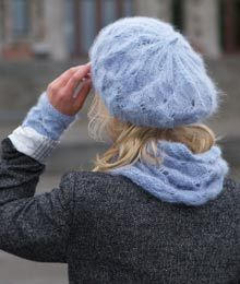 Anthera by Janel Laidman. A perfect pairing of romance and luxury. Beret, cowl and wristlets.