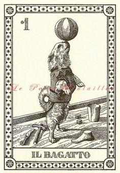Menegazzi 1991 Set Vintage z 4 psów Wróżby Tarota Canine karty | PetitPoulailler - Artykuły papierowe na ArtFire