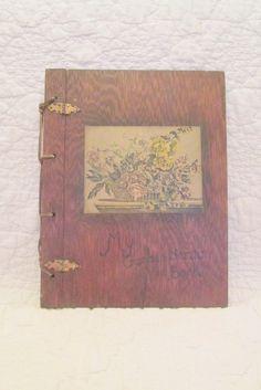 Vintage Wood Scrap Book My Garden Hand Made SALE by rarefinds4u