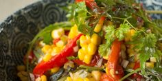 Corn and Roasted Capsicum Salad with Pickled Jalapeno Chilies