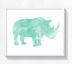 80%OFF Rhino print rhinoceros wall art rhino watercolor