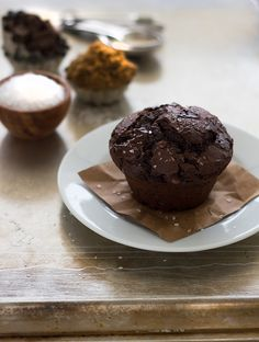 Ultimate Double Chocolate Muffins - The Chocolate Muffins to end all muffins - moist, tender, and full of deep chocolate flavor.| www.brighteyedbaker.com