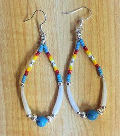 Navajo Native American Beaded Blue Turquoise Dentalium Hoop Dangle Earrings