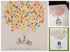 I really like the idea of having guests leave their fingerprint in a guest book. The ink colors chosen for this Guest Book Fingerprint Balloon kit are so vibrant and beautiful. Wedding Guest Book, Our Wedding, Dream Wedding, Trendy Wedding, Bike Wedding, Party Wedding, Wedding Summer, Wedding Scene, Party Party